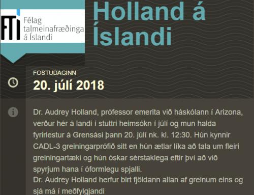 Dr. Audrey Holland á Íslandi